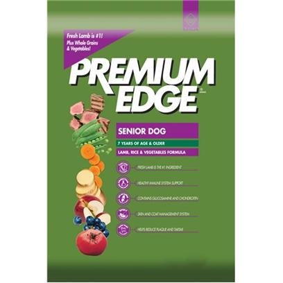 Diamond Pet Foods Presents Premium Edge Lamb and Rice Dry Dog Food for Senior 35lb. Analysiscrude Protein 20.0% Minimumcrude Fat 10.0% Minimumcrude Fiber 3.0% Maximummoisture 10.0% Maximumcalcium 1.1% Minimumphosphorus 0.9% Minimumzinc 175 Mg/Kg Minimumselenium 0.4 Mg/Kg Minimumvitamin E 150 Iu/Kg Minimumtaurine * 0.1% Minimumomega-6 Fatty Acids 1.7% Minimumomega-3 Fatty Acids 0.25% Minimumglucosamine Hydrochloride 720 Mg/Kg Minimumchondroitin Sulfate 240 Mg/Kg Minimum* not Recognized as an Essential Nutrient by the Aafco Dog Food Nutrient Profile.Calorie Content 3, 421 Kcal/Kg (320 Kcal/Cup) Calculated Metabolizable Energy. [27483]