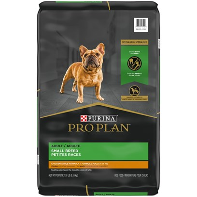 Nestle Purina Petcare Presents Purina Pro Plan Small Breed Dry Dog Food 18lb Bag. Concentrated Nutrition in Small Bite-Size Kibbles with High Levels of Protein to Meet a Small Breed Dog's Unique Nutritional Needs. Calcium, Phosphorus and Other Minerals Support Strong Bones and Teeth. Complete Nutrition with Vital Antioxidants Helps Support a Healthy Immune System. [27508]