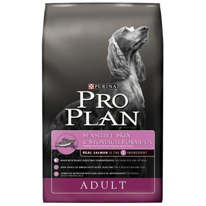 Nestle Purina Petcare Presents Purina Pro Plan Sensitive Skin and Stomach Dry Dog Food 18lb Bag. Contains High Levels of Omega Fatty Acids and a Unique Blend of Ingredients for Dogs to Help Reduce Skin Irritation and Itching. Salmon is the Novel Protein Source to Help Avoid Discomforts and Reactions Typically Associated with Common Food Sensitivities. Highly Digestible Carbohydrates, Including Rice and Oat Meal, are Gentle on the Stomach and Digestive Tract. Healthy Levels of Zinc for Production of Healthy Hair Follicles, for Healthy Skin and Coat. Optimal Protein to Fat Ratio Helps Maintain Lean Body Mass to Help Dogs Stay Stronger, Longer. Calcium, Phosphorus and Other Minerals for Strong Bones and Teeth. Helps Reduce Accumulation of Plaque and Tartar for Dental Health. Formula is Highly Digestible for Maximum Nutrient Delivery and Small, Firm Stools [27513]