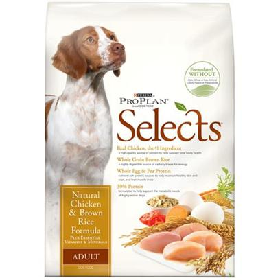 Nestle Purina Petcare Presents Purina Proplan Select Natural Chicken &amp; Brown Rice Dry Dog Food 33lb Bag. Analysiscrude Protein (Min) 30.0 %Crude Fat (Min) 17.0 %Crude Fiber (Max) 4.0 %Moisture (Max) 12.0 %Linoleic Acid (Min) 1.5 %Calcium (Ca) (Min) 1.0 %Phosphorus (P) (Min) 0.9 %Vitamin a (Min) 15,000 Iu/Kgvitamin E (Min) 460 Iu/Kgascorbic Acid** (Min) 70 Mg/Kgdocosahexaenoic Acid (Dha)** (Min) 0.15 %Eicosapentaenoic Acid (Epa)** (Min) 0.15 %Glucosamine** (Min) 550 Ppmomega-3 Fatty Acids** (Min) 0.6 %Omega-6 Fatty Acids** (Min) 2.0 %**not Recognized as an Essential Nutrient by the Aafco Dog Food Nutrient Profiles. [27526]