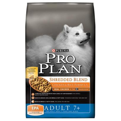 Nestle Purina Petcare Presents Purina Pro Plan Shredded Blend Chicken &amp; Rice Formula Dry Dog Food for 7+ Seniors 18lb Bag. Pro Plan Focus Chicken &amp; Rice Senior Dog Food is Specifically Formulated to Meet the Changing Needs of Senior Dogs (7 Years and Older). Epa Helps Support Healthy Cartilage and Joints. Omega-6 Fatty Acids Nourish Older Dogs' Skin and Coat. These Highly Digestible Formula Enables your Dog to Receive Optimal Nutrition from the Food with Less Going to Waste. Glutamine Helps Nourish the Digestive Cells which Promote a Healthy Gastrointestinal System for your Pet. Natural Sources of Glucosamine for Joint Health and Mobility. High-Quality Ingredients, Beginning with Real Chicken as the #1 Ingredient, for a Taste Dogs Love. Calcium, Phosphorus &amp; Other Minerals Help Support Strong Bones and Teeth. Plus, this Formula Helps Reduce Accumulation of Plaque and Tartar for Overall Dental Health. [27546]