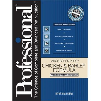 Diamond Pet Foods Presents Professional Dry Chicken and Barley for Large Breed Puppies 35lb Bag. Professional's Complete Health System Provides your Large or Giant Breed Puppy with Optimal Nutrition for Optimal Health. Proper Levels of Protein and Fat, Along with Added L-Carnitine will Help Support Normal Growth and Development of your Puppy's Muscles, Bones, and Joints. This Formula is Enhanced with Dha to Support Brain and Vision Development, Fresh Chicken for Great Taste, Fatty Acids for Healthy Skin and Coat and Many Other Features to Help your Puppy Grow into a Strong, Vibrant Adult Dog. [27551]