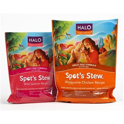 Halo Presents Spot's Stew Wild Salmon Dog Food 28 Lbs. Holistic Nutrition Made with only the Best Real Food Ingredients. Made with a Unique Blend of 3 Protein Sources, Healthy Whole Grains, Fruits and Vegetables for Pure Nutrition and High Digestibility. No Chicken Meal or Other Rendered Animal Parts. No Corn, Wheat or Wheat Gluten. Real Food with Simple Ingredients you Know and Recognize. Slow Cooked Complete and Balanced Recipes. [37301]