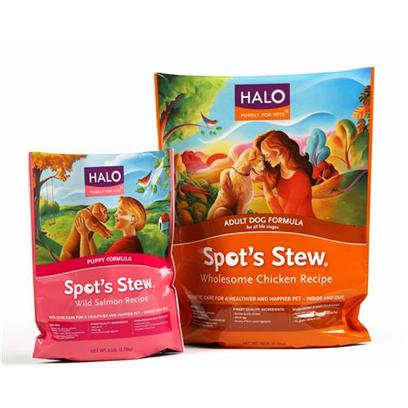 Halo Presents Spot's Stew Wild Salmon Puppy Food 18lb Bag. Analysis Protein - 30.0% Min Fat - 20.0% Min Fiber - 4.0% Max,Br&gt;Moisture - 10.0% Max Omega 6 Fatty Acids - 3.1% Min* Omega 3 Fatty Acids - 50% Min* Taurine - 10% Min Lactobacillus Acidophilus - 120,000,000 Cfu/Lb Min* Bifidobacterium Longum - 120,000,000 Cfu/Lb Min* Lactobacillus Plantarum - 120,000,000 Cfu/Lb Min* Enterococcous Faecium - 120,000,000 Cfu/Lb Min* *not Recognized as an Essential Nutrient by the Aafco Dog Nutrient Profiles [27574]