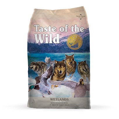Diamond Pet Foods Presents Taste of the Wild-Wetlands Canine with Roasted Fowl 30lb Bag. The Wetlands are Calling Taste of the Wild Wetlands Canine Formula with Roasted Fowl is a Flavorful and Balanced Blend of Roasted Quail, Roasted Duck and Smoked Turkey. This Grain-Free, Unique Protein Formula with Sweet Potatoes, Fruits, and Vegetables Provides Highly Digestible Energy and Natural Antioxidants for your Sensitive Dog. Because Taste of the Wild Wetlands Canine Formula with Roasted Fowl is Made with Tasty Unique Proteins, your Dog will Lick their Lips in Anticipation of the Flavor. Your Dog Deserves the Delicious Balanced Nutrition of Taste of the Wild Wetlands Canine Formula with Roasted Fowl. [27575]