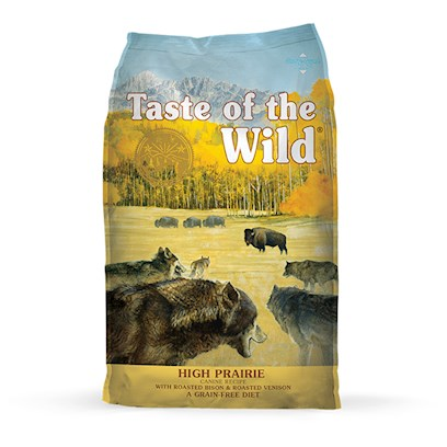 Diamond Pet Foods Presents Taste of the Wild High Prairie with Roasted Bison and Venison 15lb Bag. Roasted Meats from the Prairie Taste of the Wild, High Prairie Canine Formula with Roasted Bison and Venison, Offers the Quality Balanced Nutrition you Expect for your Best Little (or not so Little) Buddies. Your Dog will Crave the Natural Proteins of the Prairie, Blended with Berries, Sweet Potatoes, and Tomatoes, to Make this Perfectly Unique, Highly Nutritious, Mouth Watering, and Delicious, Grain-Free Formula. Boost your DogS Immune System with the Vitamins and Anti-Oxidants Taste of the Wild, High Prairie Canine Formula with Roasted Bison and Venison Provides, while Containing no Fillers, Preservatives. [27582]