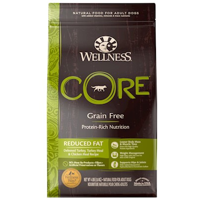 Wellpet Presents Wellness Core Grain Free Reduced Fat Formula Dry Dog Food 12lb Bag. Taking off the Weight with a Focus on Protien Dogs were Built to Spend their Days Walking and Running, but with Modernity Came Indoor Lifestyles, and Many a Day Spent Sleepily Following a Ray of Sunshine in its Hourly Progress Across the Living Room Rug. If your Dog Leads a Particularly Lazy Lifestyle, she may be Getting More Calories than she Needs. Those Calories Go Unburned and, as with Humans, Unburned Calories can Quickly Turn into Too Much Thickness Around the Middle. While Dogs DonT Deal with Human Vanity, they can Face some of the Same Debilitating Health Issues Associated with Being Overweight. Since they canT Watch their Own Calories, we Must do it for Them. Which is where Wellness Core Reduced Fat Formula Dog Food Comes In. Wellness Core is a High-Protein, Grain-Free Alternative to Traditional Dog Food Kibble Blends. CoreS Protein Comes from Deboned Turkey, Turkey Meal, Chicken and Whitefish Meals (Higher in Protein than Regular Whitefish), and Chicken Liver. It also Includes a Proprietary Blend of Vegetables, Oils, Fruits, and Botanicals that Nurture your Dog...To the Core. [27587]