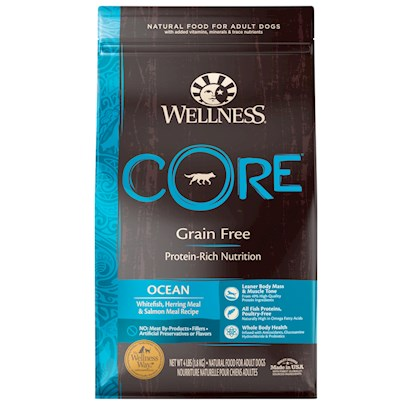 Wellpet Presents Wellness Core Grain Free Ocean Formula Dry Dog Food 26lb Bag. Based Upon their Ancestry, Dogs Thrive on Meat Diets. Wellness Core Believes because of this your Dog Deserves Kibble Packed with Protein and Nutrients, not Grain Fillers. Wellness Core Ocean Blends Whitefish, Herring Meal, Salmon Meal and Menhaden Fish Meal to Create a Delicious Protein Packed Meal for your Dog. Promotes Healthy Skin and Coat from Fatty Acids. [27588]