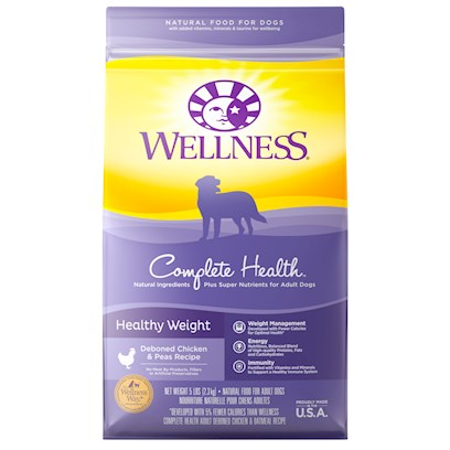 Wellpet Presents Wellness Super5mix Healthy Weight Dry Dog Food 13lb Bag. Obesity is the Most Common Nutrition-Related Health Condition in Dogs Today. Since Overweight or Obese Dogs are at a Greater Risk for Cardiovascular Disease, Diabetes, Cancer and Hip and Joint Problems, we Created Super5mix Healthy Weight. Specially Formulated for Less Active or Overweight Dogs, this Formula Provides Complete Nutrition and Satisfies the Appetite with Increased Fiber, Reduced Fat and Fewer Calories. Key Benefits  Super5mix Healthy Weight Recipe is a Perfect Diet to Help Less Active Dogs Maintain an Ideal Weight and Satisfy their Hunger without Excess Calories.  Lower Fat and High Fiber to Assist in Healthy Weight Loss  Glucosamine &amp; Chondroitin to Support Overburdened Hips and Joints  Glucosamine &amp; Chondroitin to Support Overburdened Hips and Joints  no Wheat, Meat by-Products, or Artificial Colors, Flavors or Preservatives Nutrition Analysis Crude Protein not Less than 17.0% Crude Fat not Less than 6.0% Crude Fat not More than 10.0% Crude Fiber not More than 8.0% Moisture not More than 11.0% Calcium not Less than 1.00% Phosphorus not Less than 0.85% Vitamin E not Less than 400 Ingredients Deboned Chicken, Ground Barley, Rice Bran, Chicken Meal, Ground Brown Rice, Tomato Pomace, Natural Chicken Flavor, Rye Flour, Oatmeal, Oat Fiber, Whitefish, Tomatoes, Canola Oil (Preserved with Mixed Tocopherols, a Natural Source of Vitamin E), Ground Millet, Carrots, Spinach, Sweet Potatoes, Apples, Blueberries, Calcium Carbonate, Dicalcium Phosphate, Ground Flaxseed, Vitamins [Beta-Carotene, Vitamin E Supplement, Ascorbic Acid (Vitamin C), Vitamin a Supplement, Niacin, D-Calcium Pantothenate, Riboflavin, Vitamin D-3 Supplement, Pyridoxine Hydrochloride, Thiamine Mononitrate, Folic Acid, Biotin, Vitamin B-12 Supplement], Minerals [Zinc Sulfate, Zinc Proteinate, Iron Proteinate, Ferrous Sulfate, Copper Proteinate, Copper Sulfate, Manganese Proteinate, Manganese Sulfate, Sodium Selenite], Choline Chloride, Taurine, Mixed Tocopherols (a Natural Preservative), Glucosamine Hydrochloride, Chondroitin Sulfate, Chicory Root Extract, Garlic Powder, Yucca Schidigera Extract, Green Tea Extract, Dried Lactobacillus Plantarum, Enterococcus Faecium, Lactobacillus Casei, Lactobacillus Acidophilus Fermentation Products, Rosemary Extract. This is a Naturally Preserved Product. What it's Made without Meat by-Products, Corn or Corn Gluten, Soy, Artificial Preservatives, Wheat or Wheat Gluten or Artificial Flavors, Colors or Dyes [27590]