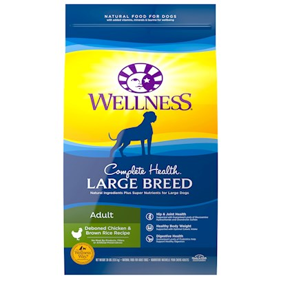 Wellpet Presents Wellness Super5mix Adult Health-Large Breed Dry Dog Food 30lb Bag. Big Kibble for Big Dogs Large Dogs Require all Sorts of Special Care. Along with Hip Problems Later in Life, Big Dogs are Likely to Pack on Extra Pounds Sooner than their Moderately Sized Counterparts. They Tend to Eat More Quickly, for Starters. Wellness has Addressed this Issue in their Wellness Super5 Mix Large Breed Adult Health Food by Making their Large Breed Kibble...Larger. The Size of the Pieces are More Appropriate for their Big Ole Mouths, and so it Takes them Longer to Chew. They WonT Eat Less, but Eating Slowly is Better for Digestion. In Addition to Wellness Quality Protein and Wholesome Grains, they have a Trademarked Super5mix Recipe that Includes a Unique Mix of Ingredients for Overall Well Being. The Mix Includes Fruit &amp; Veggie Antioxidants for Healthy Coat and Skin, and an Omega 3 &amp; 6 Botanical &amp; Herb Blend with Essential Vitamins &amp; Minerals. [27592]