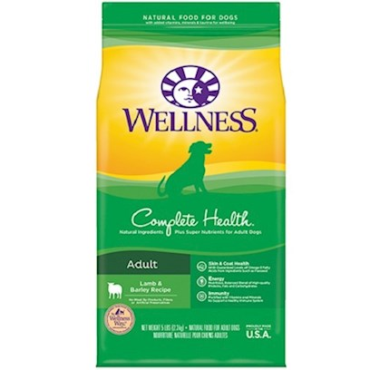 Wellpet Presents Wellness Super5mix Complete Health-Lamb Barley and Salmon Dry Dog Food 30lb Bag. Lamb is a Great Solution for Dogs that may be Allergic to Other Protein Sources, Such as Chicken. Some Finicky Dogs Actually Prefer the Flavor of Lamb. Super5mix Complete Health Lamb, Barley &amp; Salmon Meal Recipe is a Complete, Balanced Blend of Thoughtfully Chosen Ingredients for Active Adult Dogs that Require or Prefer an Alternative Protein Source. Delicious High Quality Ingredients Like Lamb, Wholesome Grains and a Full Rainbow of Fruits and Vegetables Provide the Perfect Balance of Protein, Energy, Vitamins, Minerals and Antioxidants in the Healthiest Way Possible. Key Benefits  Made with High Quality Lamb, Free of Added Growth Hormones  Omega 6 and Omega 3 Balanced Essential Fatty Acid Complex for a Healthy Immune System and a Beautiful Coat  Fruit and Vegetables Including Beta-Carotene, Lycopene and Other Fruit and Vegetable-Based Antioxidants  Supports Digestive Health and Maximum Nutrient Absorption  no Wheat, Meat by-Products, or Artificial Colors, Flavors or Preservatives Nutrition Analysis Crude Protein not Less than 22.0% Crude Fat not Less than 12.0% Crude Fiber not More than 4.0% Moisture not More than 11.0% Calcium not More than 1.20% Phosphorus not Less than 0.90% Vitamin E not Less than 150 Iu/Kg Omega 6 Fatty Acids* no Ingredients Lamb, Menhaden Fish Meal, Oatmeal, Ground Barley, Ground Brown Rice, Rye Flour, Tomato Pomace, Canola Oil (Preserved with Mixed Tocopherols, a Natural Source of Vitamin E), Salmon Meal, Rice Bran, Tomatoes, Ground Millet, Natural Lamb Flavor, Ground Flaxseed, Carrots, Spinach, Sweet Potatoes, Apples, Blueberries, Dicalcium Phosphate, Calcium Carbonate, Potassium Chloride, Vitamins [Beta-Carotene, Vitamin E Supplement, Ascorbic Acid (Vitamin C), Vitamin a Supplement, Niacin, D-Calcium Pantothenate, Riboflavin, Vitamin D-3 Supplement, Pyridoxine Hydrochloride, Thiamine Mononitrate, Folic Acid, Biotin, Vitamin B-12 Supplement], Minerals [Zinc Sulfate, Zinc Proteinate, Iron Proteinate, Ferrous Sulfate, Copper Proteinate, Copper Sulfate, Manganese Proteinate, Manganese Sulfate, Sodium Selenite], Choline Chloride, Mixed Tocopherols (a Natural Preservative), Taurine, Glucosamine Hydrochloride, Chondroitin Sulfate, Chicory Root Extract, Garlic Powder, Yucca Schidigera Extract, Green Tea Extract, Dried Lactobacillus Plantarum, Enterococcus Faecium, Lactobacillus Casei, Lactobacillus Acidophilus Fermentation Products, Rosemary Extract. This is a Naturally Preserved Product. What it's Made without Meat by-Products, Corn or Corn Gluten, Soy, Artificial Preservatives, Wheat or Wheat Gluten or Artificial Flavors, Colors or Dyes [27596]