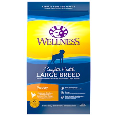 Wellpet Presents Wellness Super5mix Large Breed Puppy Health Dry Dog Food 30lb Bag. With a Longer Growth Cycle and Faster Potential Growth Rate, your Large Breed Puppy has a Unique Physical Composition that Creates Special Nutritional Needs. Our Large Breed Puppy Health Recipe for Dogs is Designed to Support the Unique Health Needs of Larger Dogs through Nutrient-Rich Whole Foods. [27603]