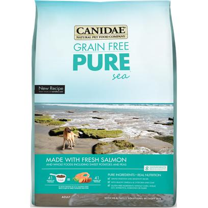 Canidae Presents Canidae-Grain Free Pure Sea with Salmon Meal Dry Dog Food 15lb Bag. Grain Free and from the Sea! Canidae Grain Free Pure Sea Dry Dog Food with Salmon Meal is an all Natural Dog Food that Focuses on Primal Nutrition, with the Benefit of Quality Ingredients. This High Protein, Easily Digestible Formula Comes with Essential Vitamins, Amino Acids, Chelated Minerals, Naturally Preserved Herbal Formulation, Balanced Omega 6 and 3 Fatty Acids, and Dha. Candide Grain Free Pure Sea Dry Dog Food is just what your High Energy Dog Needs to Keep Up. [27614]