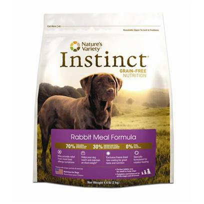 Nature's Variety Presents Nature's Variety Instinct-Grain Free Rabbit Meal Formula Dry Dog Food 25.3lb. Pure, Instinctive Nutrition for your Doginstinct Foods are Grain-Free and Gluten-Free – Perfect for Satisfying your Dog'S Carnivorous Cravings and Nutritional Needs. Instinct is also Highly Digestible and Nutritionally Dense, Making it a Natural Solution for Pets with Allergies or Weight Issues. Feed Instinctively to Give your Pet the Nourishment and Energy to Enjoy Life Every Day.Our Grain-Free Instinct Kibble is Made with the Highest Levels of Pure Animal Protein, Wholesome Fruits and Vegetables, and Essential Oils, Vitamins, and Minerals. Every Ingredient is Chosen with Care. Our Foods are 100% Free of Corn, Wheat, Soy, Chemicals, and Artificial Colors & Preservatives. Each Diet is Rich in Meat, Poultry or Fish Proteins to Give your Dog Everything he Needs for a Long and Happy Life with You.Instinct is Made by Nature's Variety, a Natural Pet Food Company Located in Lincoln, Nebraska. Our Team is Passionate About Providing Proper, Holistic Nutrition for your Beloved Dog. Instinct Products are Designed so you can Feed Canned and Kibble Food in a Variety of Flavors to your Pet. We are Proud Pet Parents, just Like You! So we Understand that your Pet has a Special Place in your Family, in your Life, and in your Heart. Our Products are Sold Across the United States and Canada in Local and National Pet Specialty Stores and are Available Online. Key Benefits• High Protein, Grain Free Dry Dog Food that Provides the Nutrition Dogs Need in a Great Tasting Kibble Dogs Love• Superior Food for your Dog – Buy Quality and Feed Less• may Provide Relief from Food Allergies and Helps your Dog Reach and Maintain an Ideal Weight Along with Proper Portions and Exercise• Perfect for Small to Large Dogs and Complete and Balanced for all Life Stages and all Breeds• Made in the Usanutrition Analysiscrude Protein (Min.) 42.00%, Crude Fat (Min.) 22.00%, Crude Fiber (Max.) 3.2%, Moisture (Max.) 10.00%, Calcium (Min.) 2.49%, Phosphorus (Min.) 1.43%, Vitamin E (Min.) 128.6 Iu/Kg, Vitamin C (Min.) 50 Mg/Kg, Omega 6 Fatty Acids (Min.) 3.61%, Omega 3 Fatty Acids (Min.) 0.69%, Sodium 0.389%, Potassium 0.878%, Chloride 0.688%, Magnesium 0.142%, Sulfur 0.383%, Manganese 33.6 Mg/Kg, Iron 333.8 Mg/Kg, Copper 25.86 Mg/Kg, Selenium 0.794 Mg/Kg.Ingredientsrabbit Meal, Salmon Meal, Tapioca, Chicken Fat, Tomato Pomace, Pumpkinseeds, Sun-Cured Alfalfa Meal, Montmorillonite Clay, Natural Pork Flavor, Vitamins (Choline Chloride, Vitamin E Supplement, Ascorbic Acid, Biotin, Niacin Supplement, Vitamin a Acetate, D-Calcium Pantothenate, Riboflavin Supplement, Pyridoxine Hydrochloride, Thiamine Mononitrate, Vitamin B12 Supplement, Carotene, Vitamin D3 Supplement, Folic Acid), Potassium Chloride, Minerals (Zinc Proteinate, Iron Proteinate, Manganese Proteinate, Copper Proteinate, Sodium Selenite, Ethylenediamine Dihydriodide), Sea Salt, Dried Kelp, Peas, Cranberries, Blueberries, Direct-Fed Microorganisms (Saccharomyces Cerevisiae Yeast Culture, Dried Enterococcus Faecium Fermentation Product, Dried Lactobacillus Acidophilus Fermentation Product, Dried Aspergillus Niger Fermentation Extract, Dried Trichoderma Longibrachiatum Fermentation Extract, Dried Bacillus Subtilis Fermentation Extract), Inulin, Mixed Tocopherols with Citric Acid (a Natural Preservative), Rosemary Extract, Freeze Dried Rabbit, Freeze Dried Pork Liver, Freeze Dried Pork Heart, Freeze Dried Ground Rabbit Bone [27619]