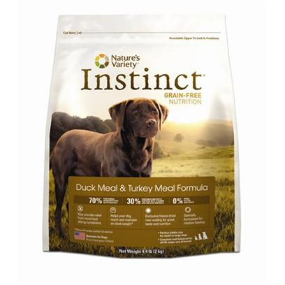 Nature's Variety Presents Nature's Variety Instinct Grain-Free Duck Meal &amp; Turkey Dry Dog Food 25.3lb. Pure, Instinctive Nutrition for your Dog Nature's Variety Instinct Rawboost Grain-Free Duck Meal &amp; Turkey Meal Formula Dry Dog Food is Specifically Developed to Provide Dogs of all Breeds, Sizes, Ages and Activity Levels with the Balanced Nutrition they Need to Thrive. Containing a High Content of Meat, Poultry and Fish Protein Along with a Blend of Vegetables, Fruits, Vitamins, Minerals and Nutritious Oils, this Duck Meal and Turkey Meal Formula Promotes the Development of Healthy Muscles and Strong Bones. Ideal for Dogs with Food Allergies, this Formula is Highly Digestible, Grain-Free and Gluten-Free. This Dry Dog Food Contains a Unique Blend of High Protein, Low Carb and Nutrient Dense Kibble Plus Freeze Dried Raw with Natural Enzymes for Digestive Health and the Delicious Flavor that all Dogs Love. Nourish your Dogs with Flavorful and Healthy Meals that they Need and Deserve Everyday by Feeding them Instinctively with Nature's Variety Instinct Rawboost Grain-Free Formula Dry Dog Food. [27622]