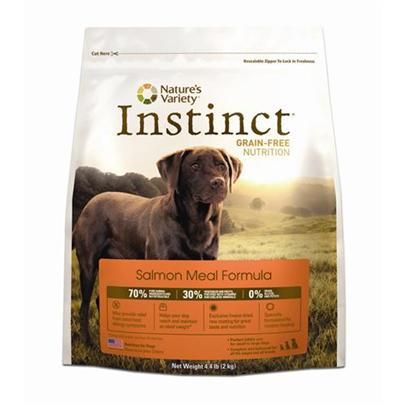 Nature's Variety Presents Nature's Variety Instinct Grain Free Salmon Meal Dry Dog Food 25.3lb Bag. Pure, Instinctive Nutrition for your Dog NatureS Variety Instinct Grain-Free Salmon Meal Formula Dry Dog Food is Specifically Developed to Provide Dogs of all Breeds, Sizes, Life Stages and Activity Levels with the Balanced and Complete Nutrition they Need to Thrive and Enjoy Life. With Healthy Fish Protein Sources Including Salmon Meal, Herring Meal, Menhaden Fish Meal, Along with a Blend of Carrots, Pumpkin, Apples and Nutritious Oils, this Delicious and Holistic Dog Food Promotes the Development of Healthy Muscles and Strong Bones. This Formula is Highly Digestible, Grain-Free and Gluten-Free, which Helps to Provide Relief from Most Types of Dog Food Allergy Symptoms. Plus, Each Piece of Instinct Salmon Formula Kibble has been Coated with a Unique Blend of Nature Variety Freeze Dried Raw Food for Added Nutrition and the Delicious Flavor that all Dogs Love. Nourish your Dog with Flavorful and Healthy Meals that they Need and Deserve Everyday by Feeding them Instinctively with NatureS Variety Instinct Grain-Free Salmon Meal Formula Dry Dog Food. [27625]
