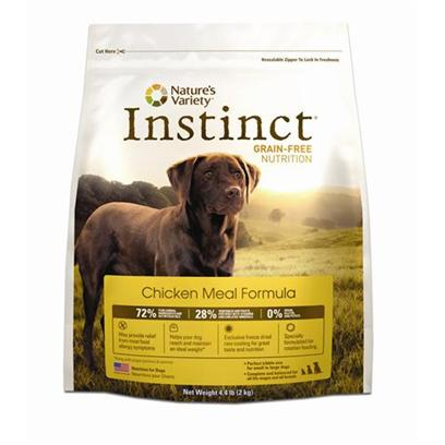 Nature's Variety Presents Nature's Variety Instinct Grain-Free Chicken Meal Dry Dog Food 25.3lb Bag. Pure, Instinctive Nutrition for your Dog Nature'S Variety Instinct Grain-Free Chicken Meal Formula Dry Dog Food is Specifically Developed to Provide Dogs of all Breeds, Sizes, Ages and Activity Levels with the Balanced Nutrition they Need to Thrive. Containing a High Content of Meat, Poultry and Fish Protein Along with a Blend of Vegetables, Fruits, Vitamins, Minerals and Nutritious Oils, this Chicken Meal Formula Promotes the Development of Healthy Muscles and Strong Bones. Ideal for Dogs with Food Allergies, this Formula is Highly Digestible, Grain-Free and Gluten-Free. Plus, Each Piece of Instinct Chicken Meal Formula Kibble has been Coated with a Unique Blend of Nature Variety Freeze Dried Raw Food for Added Nutrition and the Delicious Flavor that all Dogs Love. Nourish your Dog with Flavorful and Healthy Meals that they Need and Deserve Everyday by Feeding them Instinctively with Nature'S Variety Instinct Grain-Free Formula Dry Dog Food. [27638]
