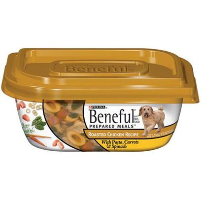 Nestle Purina Petcare Presents Purina Beneful Roasted Chicken with Pasta Carrots &amp; Spinach 10oz Meals/Pack of 8. Beneful® Brand Dog Food Prepared Meals™ Roasted Chicken Recipe with Pasta, Carrots &amp; Spinach Helps Keep your Dog Happy and Healthy. Includes Real Wholesome Ingredients that you can see, in a Resealable Container. Meaty Pieces Made with Chicken Pasta Carrots &amp; Spinach [27658]