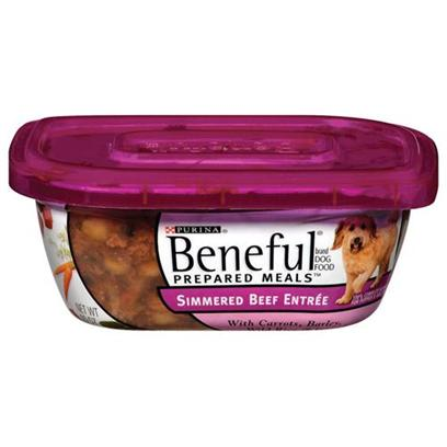 Nestle Purina Petcare Presents Purina Beneful Beef with Carrot Barley Wild Rice &amp; Spinach 10oz Meals/Pack of 8. Analysis Crude Protein (Min)11.0% Crude Fiber (Max)1.5% Crude Fat (Min)2.0% Moisture (Max)78.0% [27659]