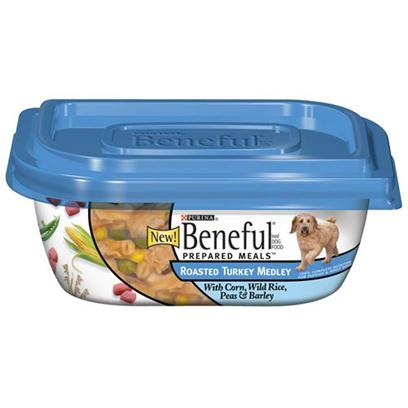 Nestle Purina Petcare Presents Purina Beneful Prepared Meals Roasted Turkey Medley 10oz Meals/Pack of 8. Beneful® Brand Dog Food Prepared Meals™ Roasted Turkey Medley with Corn, Wild Rice, Peas &amp; Barley Helps Keep your Dog Happy and Healthy. Includes Real Wholesome Ingredients that you can see, in a Resealable Container. Meaty Pieces Made with Turkey Corn Wild Rice Peas &amp; Barley [27662]