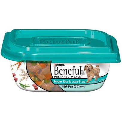 Nestle Purina Petcare Presents Purina Beneful Savory Rice and Lamb Stew with Peas &amp; Carrots 10oz Meals/Pack of 8. Analysis Crude Protein (Min)11.0% Crude Fiber (Max)1.5% Crude Fat (Min)2.0% Moisture (Max)78.0% [27663]