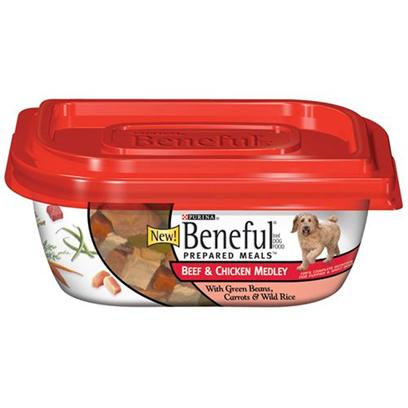 Nestle Purina Petcare Presents Purina Beneful Prepared Meals Beef and Chicken Medley 10oz Meals/Pack of 8. Beneful® Brand Dog Food Prepared Meals™ Beef & Chicken Medley with Green Beans, Carrots & Wild Rice Helps Keep your Dog Happy and Healthy. Includes Real Wholesome Ingredients that you can see, in a Resealable Container. [27664]