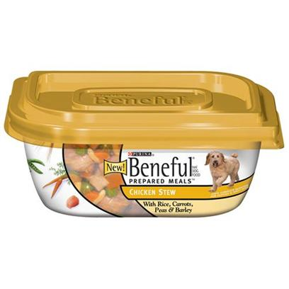 Nestle Purina Petcare Presents Purina Beneful Prepared Meals Chicken Stew 10oz Meals/Pack of 8. Eneful Brand Dog Food Prepared Meals Chicken Stew with Rice, Carrots, Peas &amp; Barley Helps Keep your Dog Happy and Healthy. Includes Real Wholesome Ingredients that you can see, in a Resealable Container. Meaty Pieces Made with Chicken Rice Carrots Peas &amp; Barley [27665]