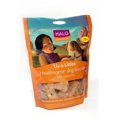 Halo Presents Halo Liv-a-Littles Healthsome Chicken Dog Biscuits 8oz. Analysis Crude Protein 11.0% (Min) Crude Fat 8.0% (Min) Crude Fiber 3.5% (Max) Moisture 12.0% (Max) [27754]