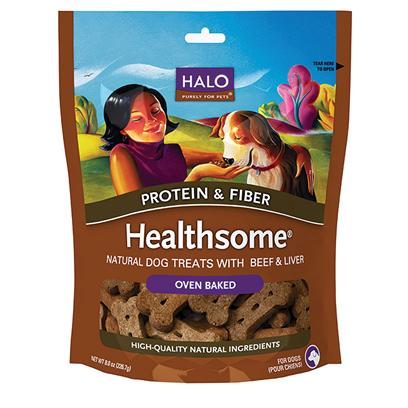 Halo Presents Halo Liv-a-Littles Healthsome Beef Dog Biscuits 8oz. Analysis Crude Protein 11.0% (Min) Crude Fat 7.0% (Min) Crude Fiber 5.0% (Max) Moisture 12.0% (Max) Calorie Content me (Calculated) Kcal/Kg 3670 Kcal/Biscuit 28 [27755]