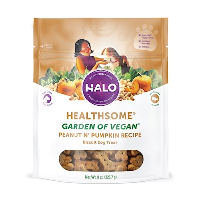 Halo Presents Halo Liv-a-Littles Veg with Peanut & Pumpkin Dog Biscuits 8oz. Analysis Crude Protein 13.0% (Min) Crude Fat 6.0% (Min) Crude Fat 8.0% (Max) Crude Fiber 5.0% (Max) Moisture 12.0% (Max) [27756]