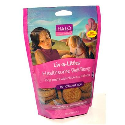 Halo Presents Halo Liv-a-Littles Healthsome Chicken & Cheese Treats 6oz. Analysis Crude Protein 10.0% (Min) Crude Fat 7.0% (Min) Crude Fiber 5.0% (Max) Moisture 12.0% (Max) Selenium 0.08 Mg/Kg (Min) Vitamin a as Beta-Carotene 5000 Iu/Kg (Min) Vitamin E 50 Iu/Kg (Min) Omega 6* 1.1% (Min) Omega 3*0.4% (Min) Ascorbic Acid*(Vitamin C) 50mg/Kg (Min) [27757]