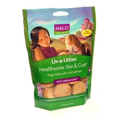 Halo Presents Halo Liv-a-Littles Skin & Coat Treats with Dream 6oz. Analysis Crude Protein 11.0% (Min) Crude Fat 7.0% (Min) Crude Fiber 7.0% (Max) Moisture 12.0% (Max) Omega 6* 1.9% (Max) Omega 3* 0.6% (Min), Ascorbic Acid* (Vitamin C) 30 Mg/Kg (Min) [27758]