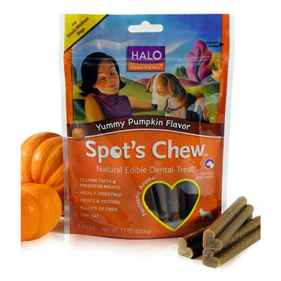 Halo Presents Halo Spot's Chew Pumpkin Dental Treat Small/Medium-7.2oz. Analysis Crude Protein 18% (Min), Crude Fat 2% (Min), Crude Fat 3% (Max), Crude Fiber 2% (Max), Moisture 15% (Max), Omega 6 Fatty Acids* 0.6% (Min), Omega 3 Fatty Acids* 0.3% (Min). [27759]