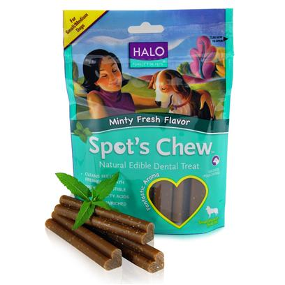 Halo Presents Halo Spot's Chew Mint Dental Treat Small/Medium-7.2oz. Analysis Crude Protein 18% (Min), Crude Fat 2% (Min), Crude Fat 3% (Max), Crude Fiber 2% (Max), Moisture 15% (Max), Omega 6 Fatty Acids* 0.6% (Min), Omega 3 Fatty Acids* 0.3% (Min). [27760]