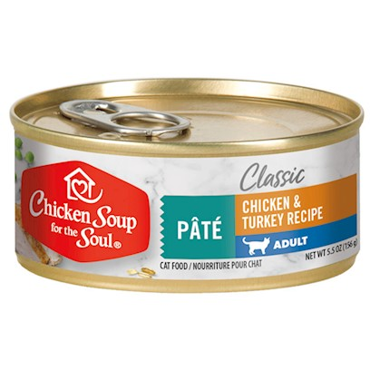 Diamond Pet Foods Presents Chicken Soup for Cat Lovers Adult 5.5oz Cans/Case of 24. Analysis Crude Protein 11.0% Minimum Crude Fat 5.5% Minimum Crude Fiber 1.0% Maximum Moisture 78.0% Maximum Calorie Content 1,347 Kcal/Kg (210 Kcal/can) Calculated Metabolizable Energy. [27763]