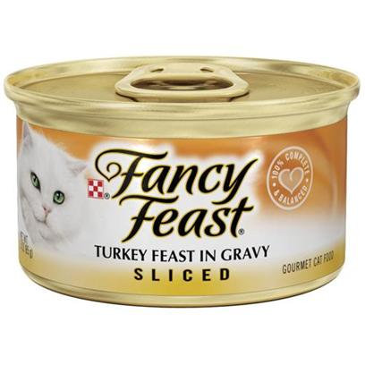 Nestle Purina Petcare Presents Fancy Feast Canned Turkey for Cats Sliced Turkey-3oz Cans/Case of 24. Analysis Crude Protein (Min) 11.0% Crude Fat (Min) 2.0% Crude Fiber (Max) 1.5% Moisture (Max) 78.0% Ash (Max) 2.7% Taurine (Min) 0.05% [27768]