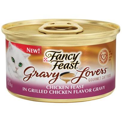 Nestle Purina Petcare Presents Fancy Feast Canned Chicken for Cats Gravy Lovers Feast-3oz Cans/Case of 24. Analysis Crude Protein (Min) 9.0% Crude Fat (Min) 2.0% Crude Fiber (Max) 1.5% Moisture (Max) 82.0% Ash (Max) 3.0% Taurine (Min) 0.05% [27778]