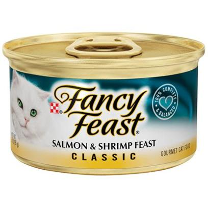 Nestle Purina Petcare Presents Fancy Feast Canned Salmon and Shrimp for Cats Grilled &amp; in Gravy-3oz Cans/Case of 24. Analysis Crude Protein (Min) 11.0% Crude Fat (Min) 4.0% Crude Fiber (Max) 1.5% Moisture (Max) 78.0% Ash (Max) 3.5% Taurine (Min) 0.05% [27788]