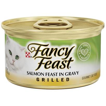 Nestle Purina Petcare Presents Fancy Feast Canned Salmon for Cats 3oz Cans/Case of 24 (Grilled). Analysis Crude Protein (Min) 11.0% Crude Fat (Min) 2.0% Crude Fiber (Max) 1.5% Moisture (Max) 80.0% Ash (Max) 2.7% Taurine (Min) 0.05% [27789]