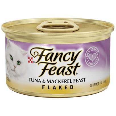 Nestle Purina Petcare Presents Fancy Feast Canned Tuna and Mackerel for Cats Flaked 3oz Cans/Case of 24. Analysis Crude Protein (Min) 14.0% Crude Fat (Min) 3.5% Crude Fiber (Max) 1.5% Moisture (Max) 78.0% Ash (Max) 3.5% Taurine (Min) 0.05% [27796]