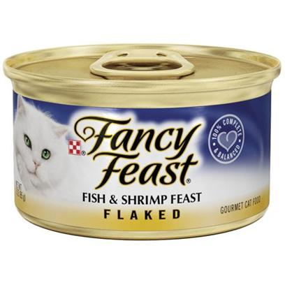 Nestle Purina Petcare Presents Fancy Feast Canned Flaked Fish and Shrimp for Cats 3oz Cans-Case of 24. Analysis Crude Protein (Min) 17.5% Crude Fat (Min) 2.0% Crude Fiber (Max) 1.5% Moisture (Max) 78.0% Ash (Max) 3.0% Taurine (Min) 0.05% [27797]