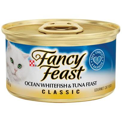 Nestle Purina Petcare Presents Fancy Feast Canned Ocean Whitefish and Tuna Classic Grilled for Cats 3oz Cans/Case of 24 (Classic). Analysis Crude Protein (Min) 12.0% Crude Fat (Min) 2.0% Crude Fiber (Max) 1.5% Moisture (Max) 78.0% Ash (Max) 3.7% Taurine (Min) 0.05% [27801]