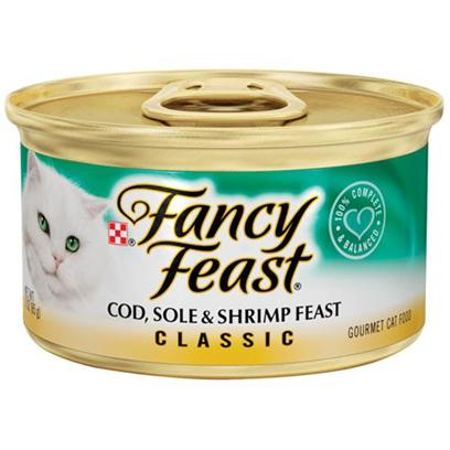 Nestle Purina Petcare Presents Fancy Feast Canned Classic Cod Sole and Shrimp for Cats 3oz Cans/Case of 24. Analysis Crude Protein (Min) 12.0% Crude Fat (Min) 2.0% Crude Fiber (Max) 1.5% Moisture (Max) 78.0% Ash (Max) 3.5% Taurine (Min) 0.05% [27803]