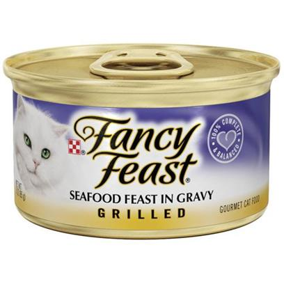 Nestle Purina Petcare Presents Fancy Feast Canned Seafood for Cats 3oz Cans/Case of 24 (Classic). Analysis Crude Protein (Min) 11.0% Crude Fat (Min) 2.0% Crude Fiber (Max) 1.5% Moisture (Max) 80.0% Ash (Max) 3.0% Taurine (Min) 0.05% [27805]