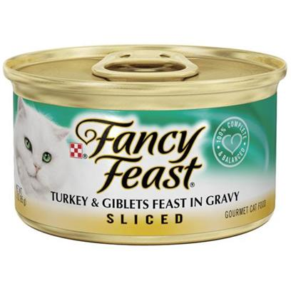 Nestle Purina Petcare Presents Fancy Feast Canned Turkey and Giblets for Cats 3oz Cans/Case of 24. Analysis Crude Protein (Min) 11.0% Crude Fat (Min) 2.0% Crude Fiber (Max) 1.5% Moisture (Max) 78.0% Ash (Max) 2.7% Taurine (Min) 0.05% [27806]