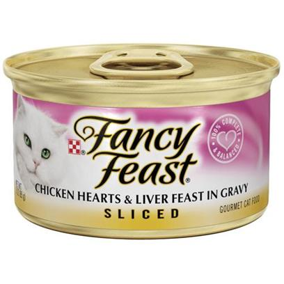 Nestle Purina Petcare Presents Fancy Feast Canned Chicken Hearts and Liver for Cats 3oz Cans/Case of 24. Analysis Crude Protein (Min) 11.0% Crude Fat (Min) 2.0% Crude Fiber (Max) 1.5% Moisture (Max) 78.0% Ash (Max) 2.7% Taurine (Min) 0.05% [27808]