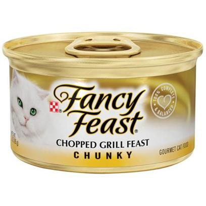 Nestle Purina Petcare Presents Fancy Feast Canned Chopped Grill for Cats 3oz Cans/Case of 24 (27809). Analysis Crude Protein (Min) 11.0% Crude Fat (Min) 4.0% Crude Fiber (Max) 1.5% Moisture (Max) 78.0% Ash (Max) 3.0% Taurine (Min) 0.05% [27809]