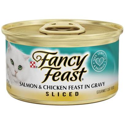 Nestle Purina Petcare Presents Fancy Feast Canned Sliced Salmon and Chicken for Cats 3oz Cans/Case of 24. Analysis Crude Protein (Min) 11.0% Crude Fat (Min) 2.0% Crude Fiber (Max) 1.5% Moisture (Max) 78.0% Ash (Max) 2.7% Taurine (Min) 0.05% [27812]