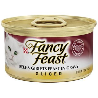 Nestle Purina Petcare Presents Fancy Feast Canned Sliced Beef and Giblets for Cats &amp; 24 3oz Cans. Analysis Crude Protein (Min) 11.0% Crude Fat (Min) 2.0% Crude Fiber (Max) 1.5% Moisture (Max) 78.0% Ash (Max) 2.7% Taurine (Min) 0.05% [27813]