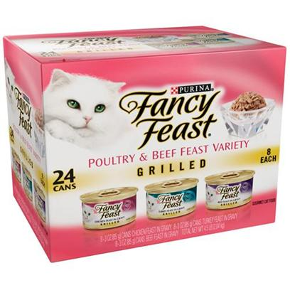 Nestle Purina Petcare Presents Fancy Feast Canned Grilled Variety Pack for Cats 3oz Cans-Case of 24. Analysis see Individual Product Details for Guaranteed Analysis. [27817]